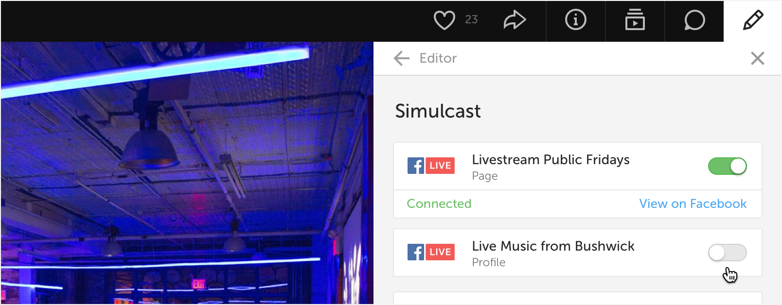 New Livestream Product Feature Releases Advice On Music Blog Archive A Basic Live Sound Setup Diagram If Youre Streaming To Facebook And Want Direct Viewers Back Your Player Embed You Can Toggle